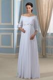 Robe de mariée Zip Fourreau plissé Mousseline de soie Épaule Dégagée