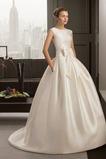 Robe de mariée Princesse Col Bateau Salle Sans Manches Satin Dignité