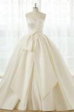 Robe de mariée Satin A-ligne Formelle Traîne Longue Lacez vers le haut