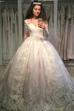 Robe de mariée Manche Longue Elégant Naturel taille A-ligne Fermeture éclair