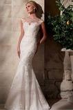 Robe de mariée Sans Ceinture Col ras du Cou Perle Manquant Formelle