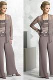Robe de mère pantalon de costume Col Carré 2 Pièces Chiffon Manche Longue