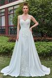 Robe de mariée Gaze Appliques a ligne Col en V Elégant Automne