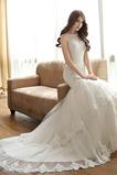 Robe de mariée Multi Couche Sans Manches Naturel taille Lacet