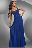 Robe de Bal taille haute Mousseline de soie Maigre Bleu foncé