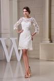 Robe de mariée mini Maigre Chic Norme Tissu Dentelle Naturel taille