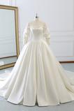 Robe de mariée Manche Longue Formelle a ligne Naturel taille Eglise