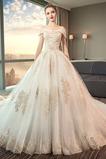 Robe de mariée aligne Lacet Naturel taille Perler Eglise Épaule Dégagée