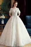 Robe de mariée Dos nu A-ligne Naturel taille Eglise Manche Courte
