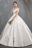 Robe de mariée Épaule Dégagée Traîne Mi-longue Naturel taille
