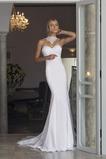 Robe de mariée Appliques Col haut Sirène Longue Plage Naturel taille