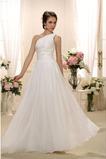 Robe de mariée A-ligne Ample & Ornée Naturel taille Épaule Asymétrique