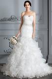 Robe de mariée Traîne Courte Lacet Col en Cœur Perle Sirène Chapelle