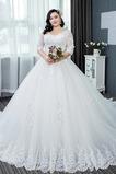 Robe de mariée aligne Salle Longue Chaussez Tissu Dentelle Couvert de Dentelle