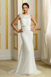 Robe de mariée Haute Couvert Mousseline de soie Simple Col ras du Cou