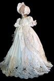 Robe de baptême Perlé Princesse Orné de Nœud à Boucle Manche Courte