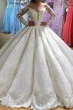 Robe de mariée Traîne Longue Automne Perle Manche Aérienne Norme Fermeture éclair