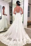 Robe de mariée Dentelle Naturel taille A-ligne Romantique Couvert de Dentelle