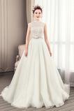 Robe de mariée aligne Automne Haut Bas Traîne Longue Lacet Classique