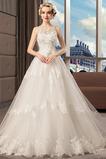 Robe de mariée Col Bateau Printemps Zip Perlé Formelle Norme