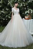 Robe de mariée Longue Sablier Manche Courte Appliques Fourreau Avec Bijoux
