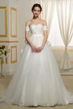 Robe de mariée Mancheron Plage Épaule Dégagée Automne aligne Traîne Courte