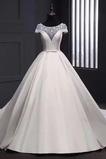 Robe de mariée Hiver A-ligne Soie Salle Traîne Longue Orné de Nœud à Boucle
