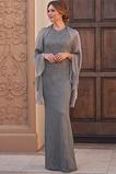 Robe Mère de Mariée Fourreau Longueur ras du Sol Mode Col ras du Cou