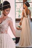 Robe de mariée Naturel taille Col en V Longue Perspectif Printemps