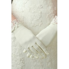 Gants de mariage Decoration Ivory Appropriate Satin Dentelle Short