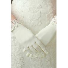 Gants de mariage Decoration Ivory Appropriate Satin Dentelle Short