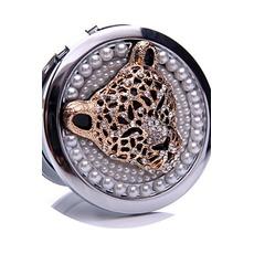 Diamant incrusté de cercle anniversaire mariage métal pliant petit miroir & peigne