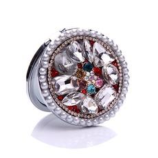 Luxueux cercle incrusté de diamants pliage dessin animé petit miroir & peigne