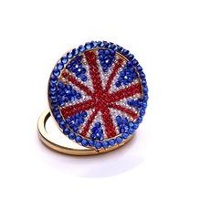 Portable en gros drapeau double face incrusté de mot diamant M petit miroir & peigne
