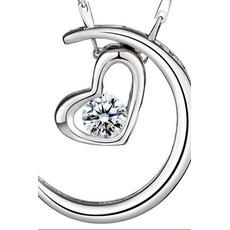 Vente en forme de coeur d'électrodéposition décoration chaude Collier pendentif en argent