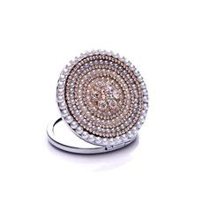 Catégorie supérieure cercle Croix métal incrusté de diamants annonce petit miroir & peigne