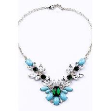 Mariage en alliage marqueté gem pendentif & collier de fleurs cristal