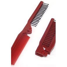 Grain de bois rouge pliante multifonction Portable petit miroir & peigne