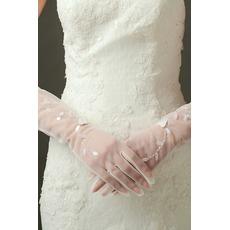 Gants de mariage Sexy Pailleté Translucent Long Shade Full finger
