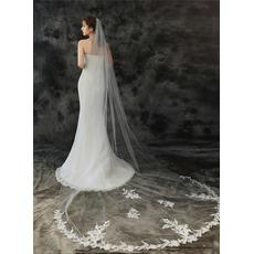 Voile de mariée 3M monocouche avec peigne à cheveux et voile de dentelle délicat