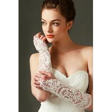 Gants de mariage Ivory Tissu Dentelle Decoration Translucent Automne