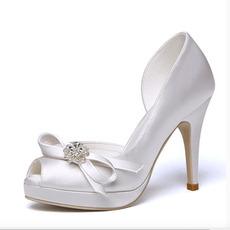 Chaussures de mariage à bout ouvert, plate-forme imperméable en satin, talons hauts, mariage, talons hauts