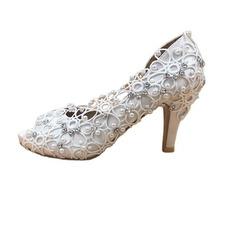 Chaussures de mariage en dentelle satinée avec strass chaussures de mariage stiletto chaussures de mariage à la main