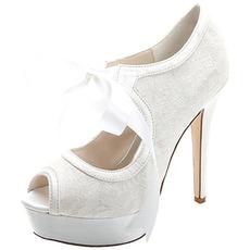 Élégante dentelle à talons hauts plate-forme étanche chaussures pour femmes sangles en satin banquet chaussures de mariage chaussures de mode