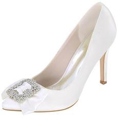 Printemps et automne bout pointu super talon haut satin strass chaussures mariage demoiselle d'honneur chaussures femmes
