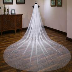 Voile brillant de mariée voile de mariée extra longue queue voile blanc