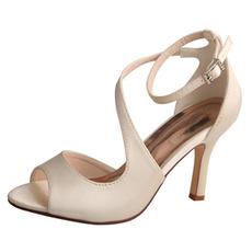 Bout ouvert bouche de poisson talons hauts chaussures de mariée mariage sandales de bal en satin
