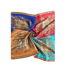 Écharpe plain Long Real silk Printemps Blue All adults