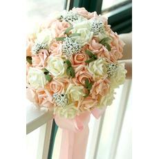 bouquet de fleur 30 de mariée, tenue de mariage de demoiselle d'honneur champagne simulation rose fleur