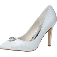 Nouveau strass chaussures pointues satin chaussures de mariage pour femmes chaussures de demoiselle d'honneur